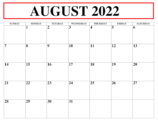 August 2022 Kalender