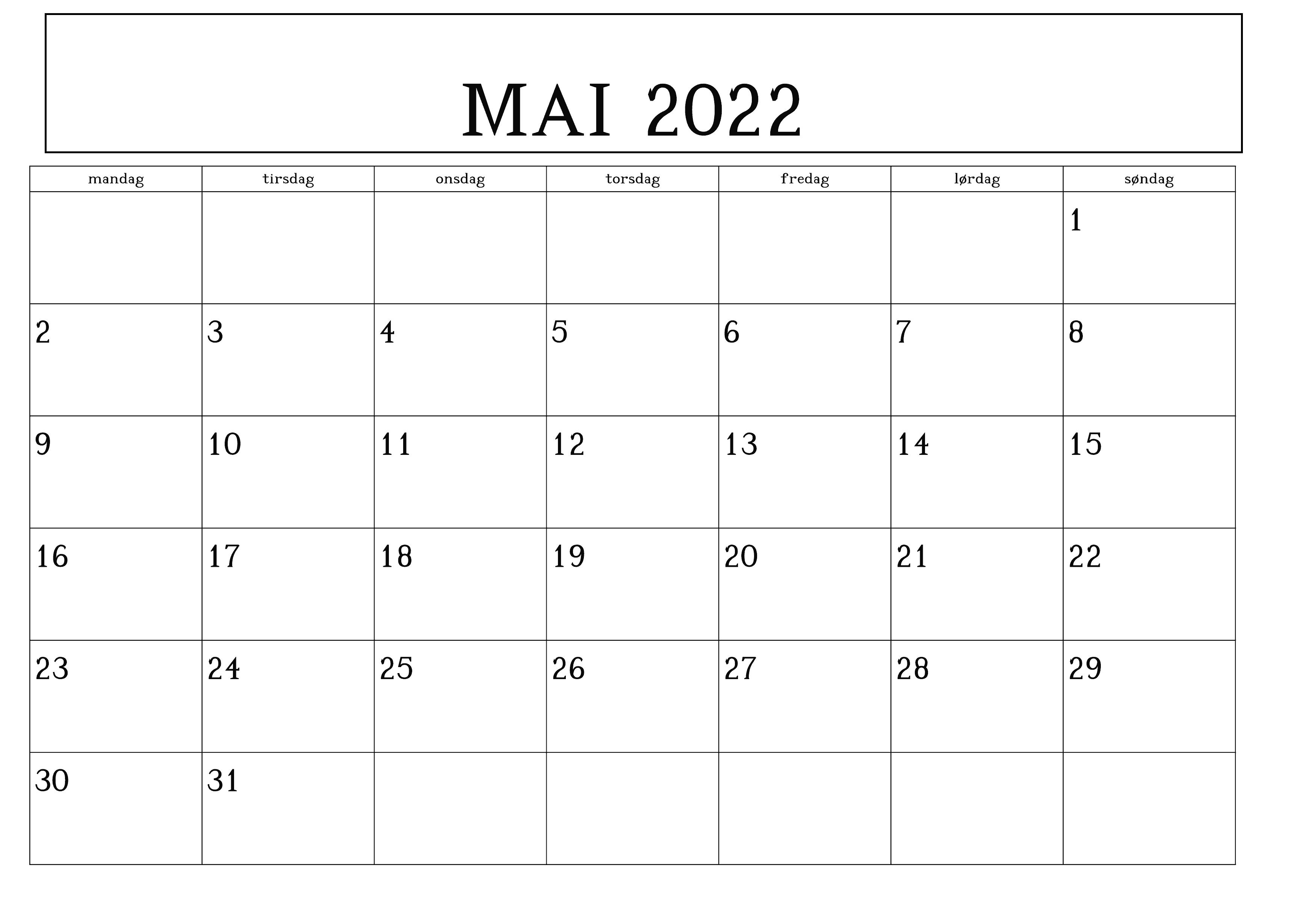 Feiertags Mai Kalender 2022