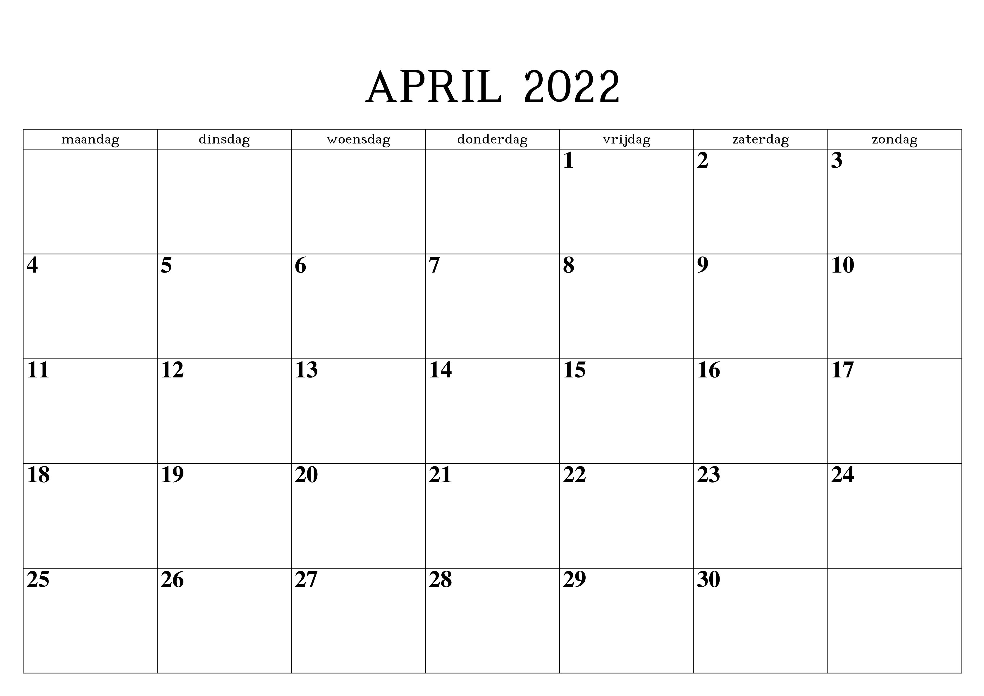 Frei April 2022 Kalender Ausdrucken