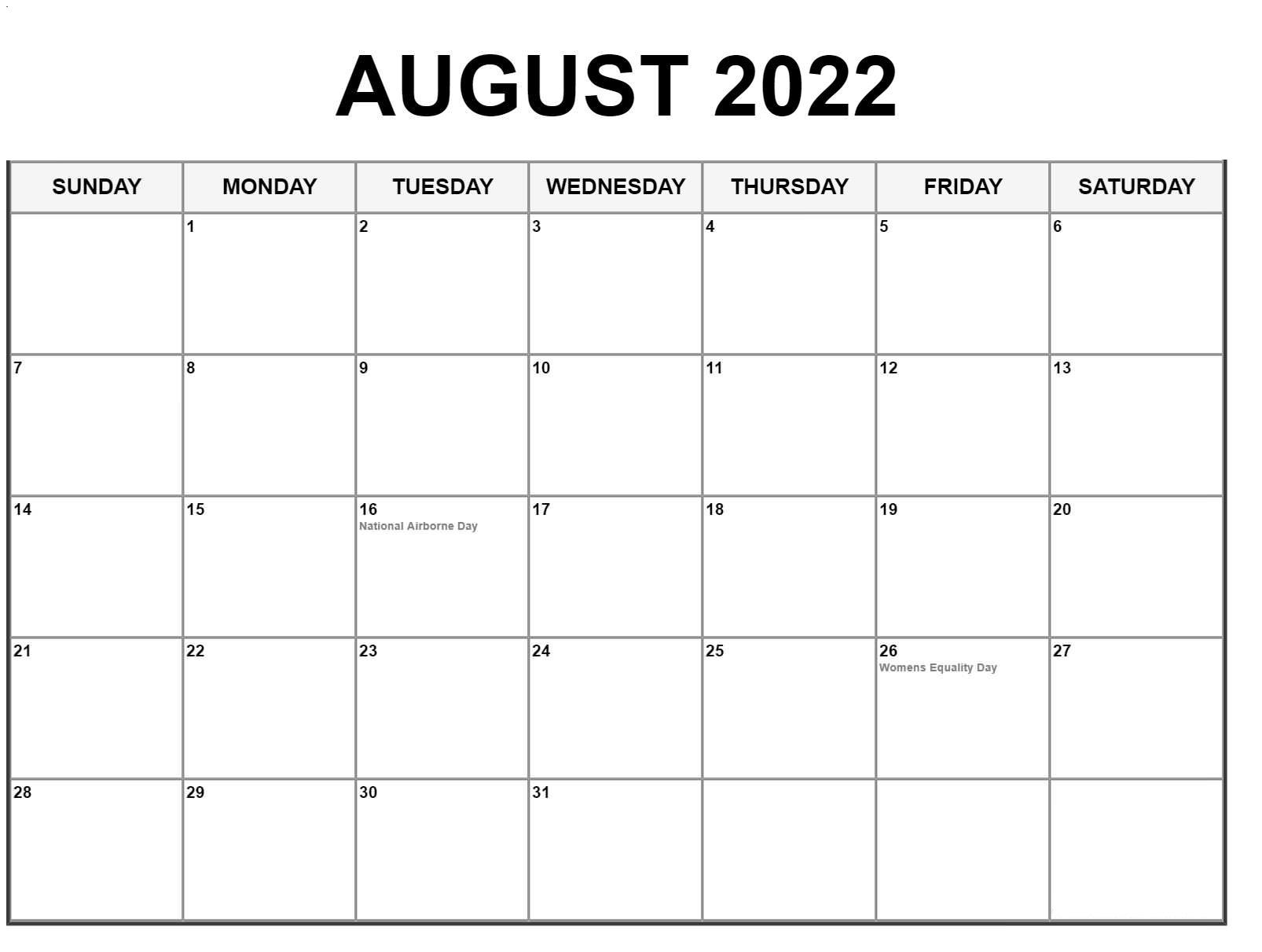 Frei August 2022 Kalender Ausdrucken