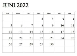 Frei Juni 2022 Kalender Ausdrucken