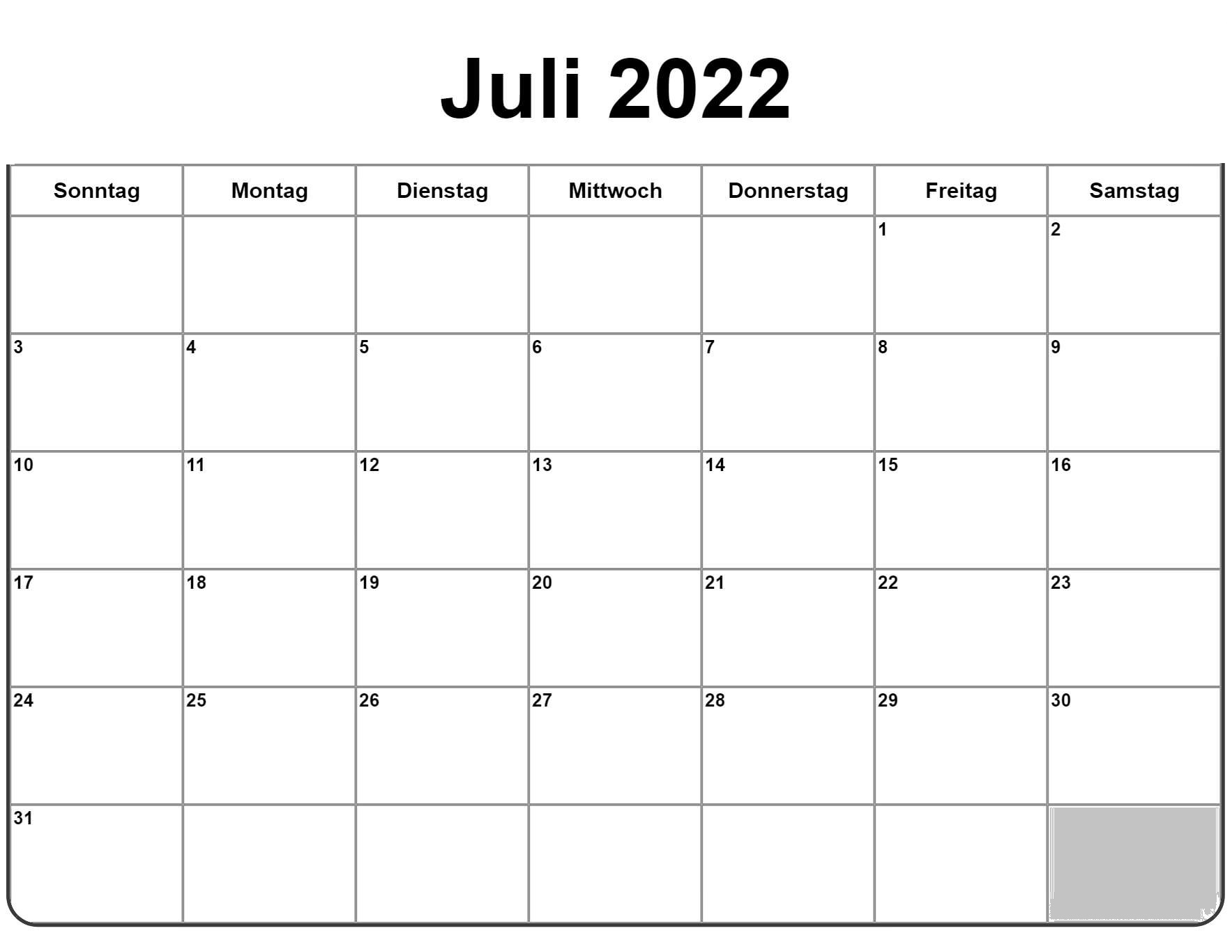 Frei Kalender Juli 2022 Ausdrucken