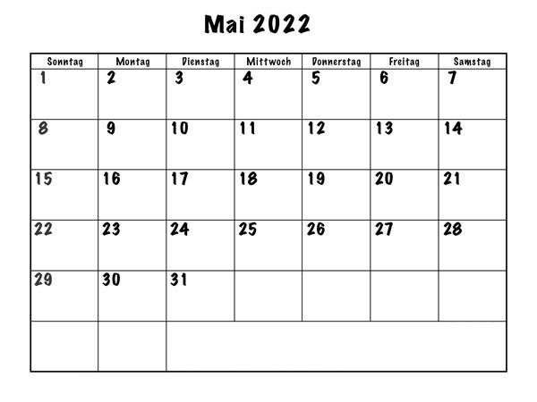 Frei Kalender Mai 2022 Ausdrucken