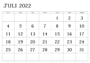 Juli 2022 Kalender PDF