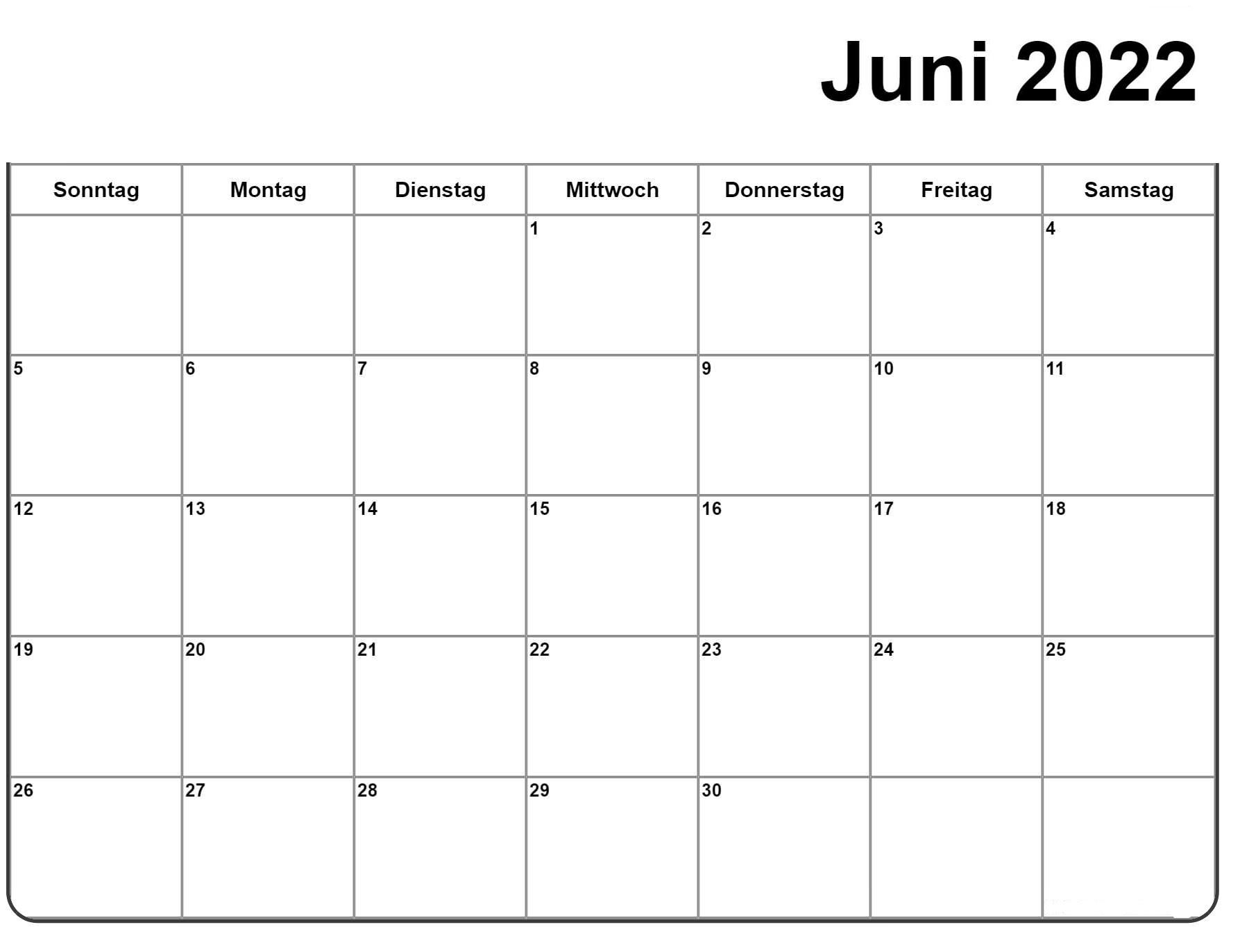 Juni 2022 Kalender PDF