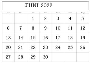 Juni Kalender 2022 Zum Ausdrucken