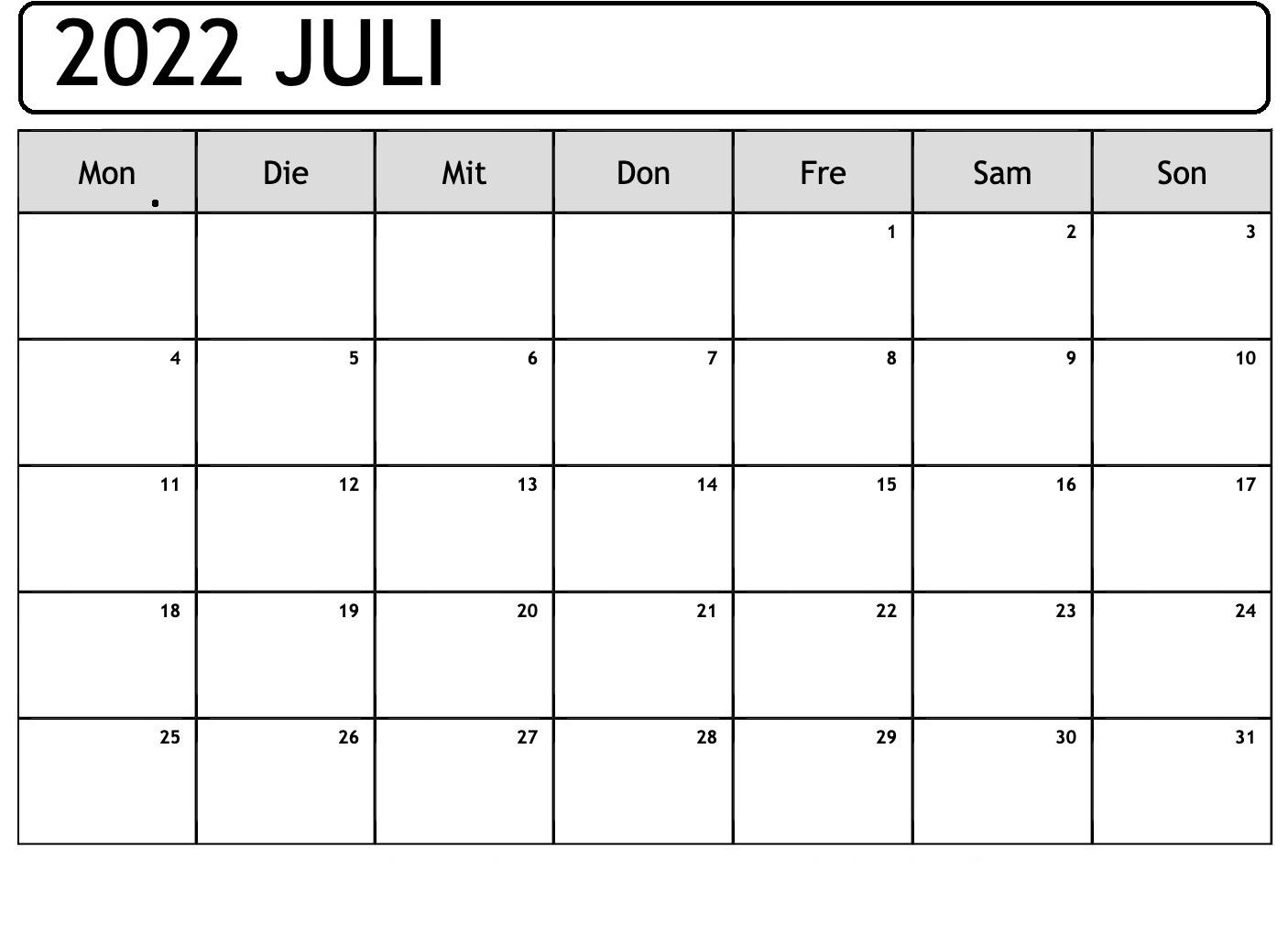 Kalender 2022 Juli Zum Ausdrucken