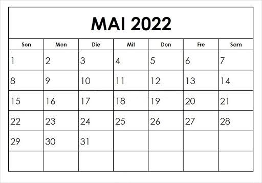 Kalender 2022 Mai Zum Ausdrucken