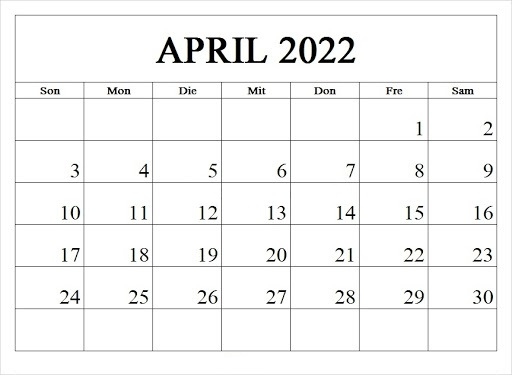 Kalender April 2022 Drucken