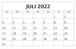 Kalender Juli 2022 Ausdrucken