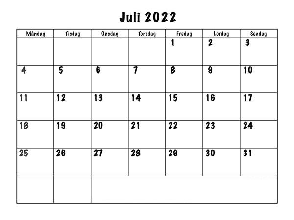 Kalender Juli 2022 Drucken