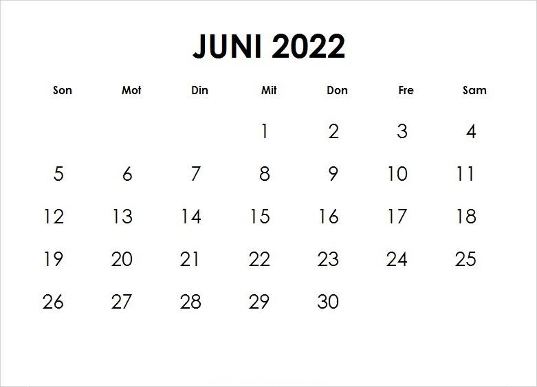 Kalender Juni 2022 Drucken