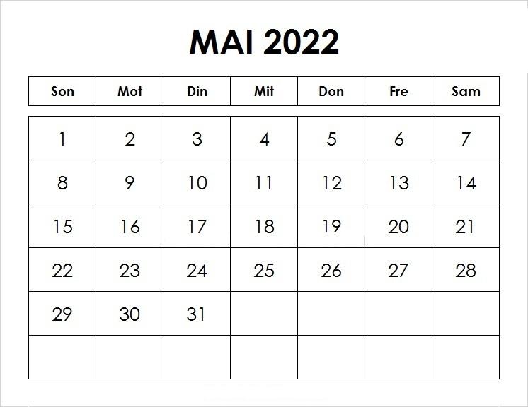 Mai 2022 Kalender Mit Notizen